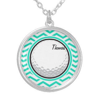 Golf Ball Aqua Green Chevron Necklaces