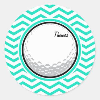 Golf Ball Aqua Green Chevron Round Stickers