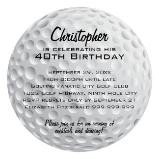 Golf Ball Birthday Party Personalized Invites