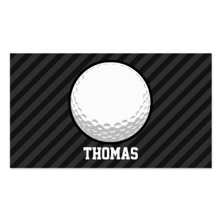 Golf Ball; Black & Dark Gray Stripes Double-Sided Standard Business Cards (Pack Of 100)