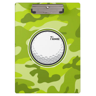 Golf Ball; bright green camo, camouflage Clipboard