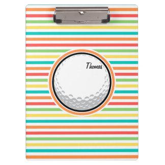 Golf Ball; Bright Rainbow Stripes Clipboard