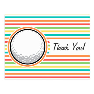 Golf Ball Bright Rainbow Stripes Postcards