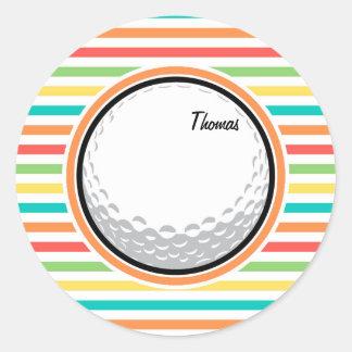 Golf Ball Bright Rainbow Stripes Sticker