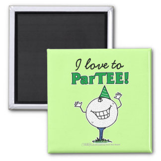Golf Ball Character ParTEE! Square Magnet