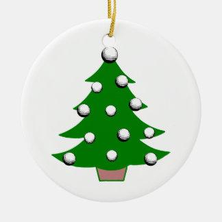 Golf Ball Christmas Tree Round Ceramic Decoration