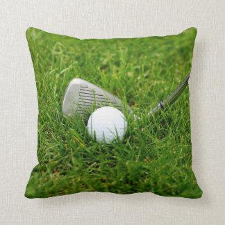 Golf Ball, Club, Iron and Green Grass Throw Pillow