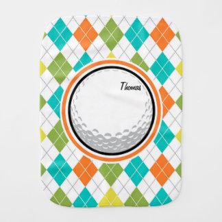 Golf Ball; Colorful Argyle Pattern Burp Cloth