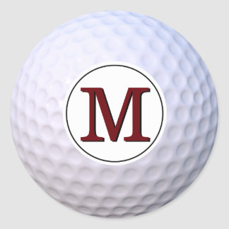 Golf Ball Customizable Monogram Classic Round Sticker