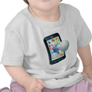 Golf ball flying out of mobile phone t-shirt