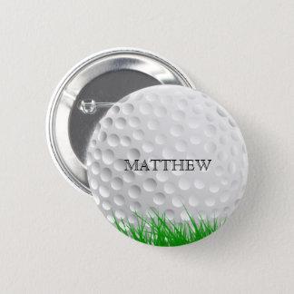 Golf ball in Grass 6 Cm Round Badge