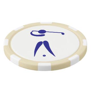 Golf Ball Marker Poker Chips Blue Golf Player