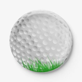 Golf Ball on Grass Paper Plate