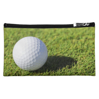 Golf Ball On Green Grass Course - Customized Makeup Bag