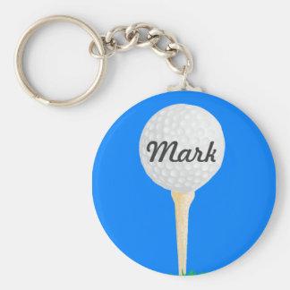 Golf Ball on Tee Basic Round Button Key Ring