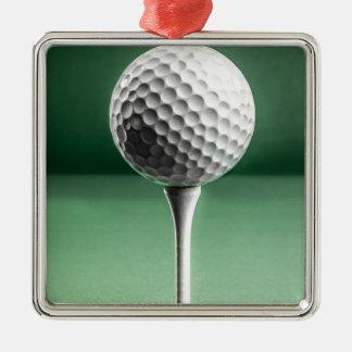 Golf Ball on Tee Metal Ornament