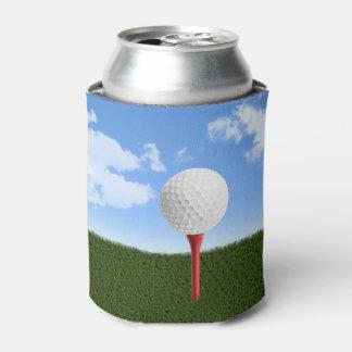 Golf Ball on Tee, Sky & Grass Can Cooler