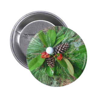 Golf ball pine cones and evergreens Christmas Pinback Buttons