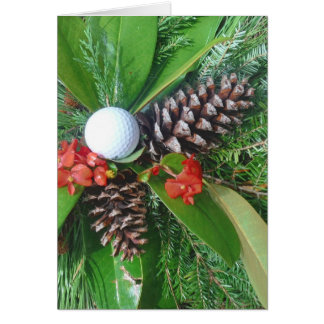 Golf ball pine cones and evergreens Christmas Greeting Cards