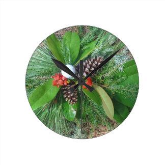 Golf ball pine cones and evergreens Christmas Round Clock