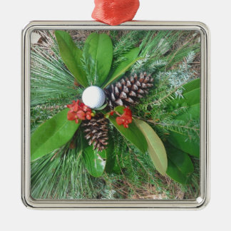 Golf ball pine cones and evergreens Christmas Silver-Colored Square Decoration