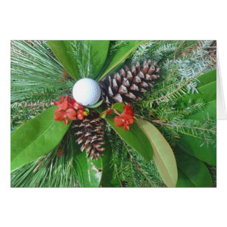 Golf ball pine cones and evergreens Christmas Greeting Card