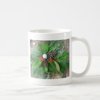 Golf ball pine cones and evergreens Christmas Coffee Mug