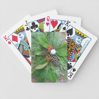 Golf ball pine cones and evergreens Christmas Poker Cards