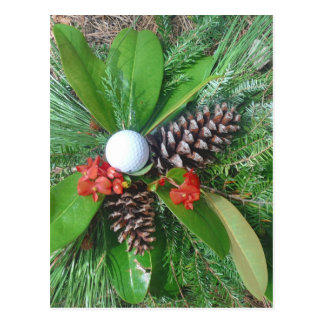Golf ball pine cones and evergreens Christmas Postcard