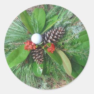 Golf ball pine cones and evergreens Christmas Sticker