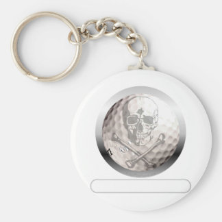 Golf Ball Skull and Crossbones Basic Round Button Key Ring