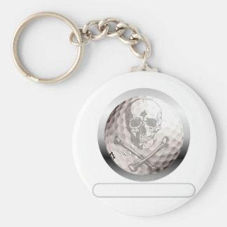 Golf Ball Skull and Crossbones Basic Round Button Key Ring