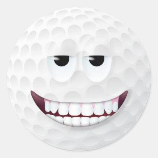 Golf Ball Smiley Face 2 Round Sticker