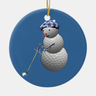 Golf Ball Snowman Ceramic Ornament