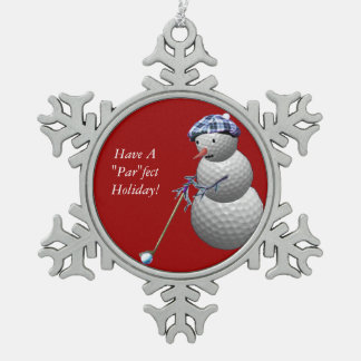 Golf Ball Snowman Snowflake Pewter Christmas Ornament