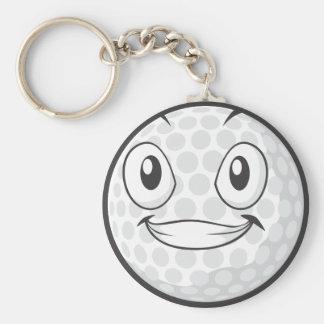 Golf Ball Sticker  Happy Golf Ball Cartoon Sticker Basic Round Button Key Ring