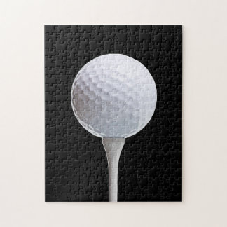 Golf Ball & Tee on Black - Customized Template Jigsaw Puzzle