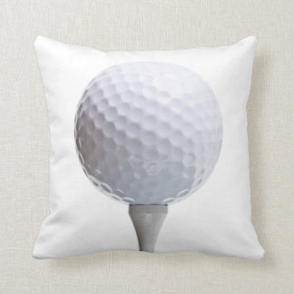 Golf Ball & Tee on White Customised Template Cushion