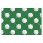 Golf balls and Tees on Green Tissue Paper