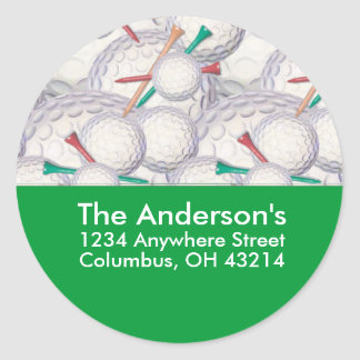 Golf Balls & Tees Address Label/Sticker Classic Round Sticker