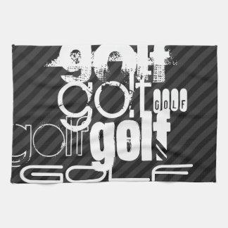 Golf; Black & Dark Gray Stripes Tea Towel