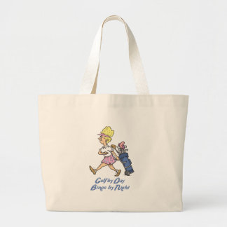 golf by day bingo by night large tote bag