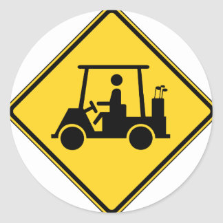Golf Cart Crossing Sign Round Stickers