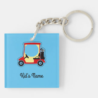 Golf cart Double-Sided square acrylic key ring