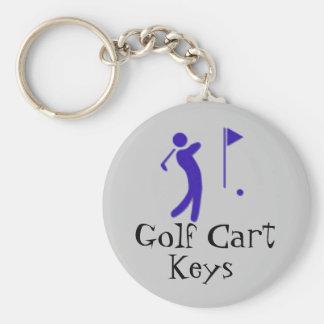 Golf Cart Keys Basic Round Button Key Ring