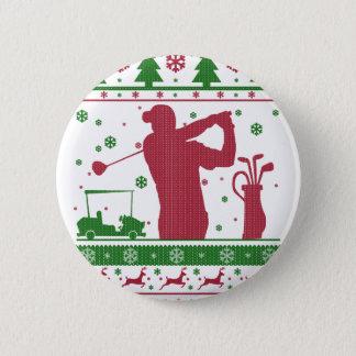Golf Christmas 6 Cm Round Badge