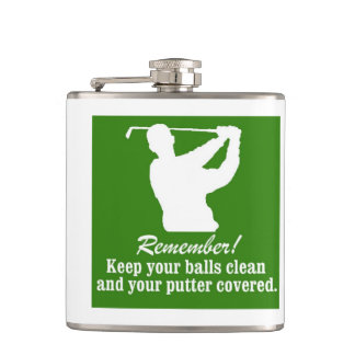 Golf Christmas balls putter humor golfing golfer Hip Flask
