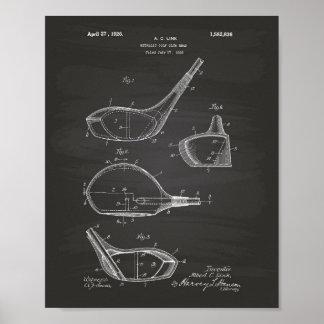 Golf Club 1926 Patent Art - Chalkboard Poster