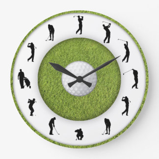 Golf Club Golfer Figure Grass Design Clock