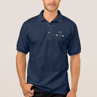 Golf Clubs and Golf Ball with initials Polo Shirt